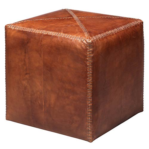 Jamie Young Company Tobacco Leather Small Ottoman