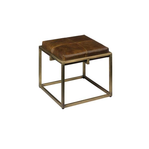 Shelby Olive Leather 18-Inch Ottoman