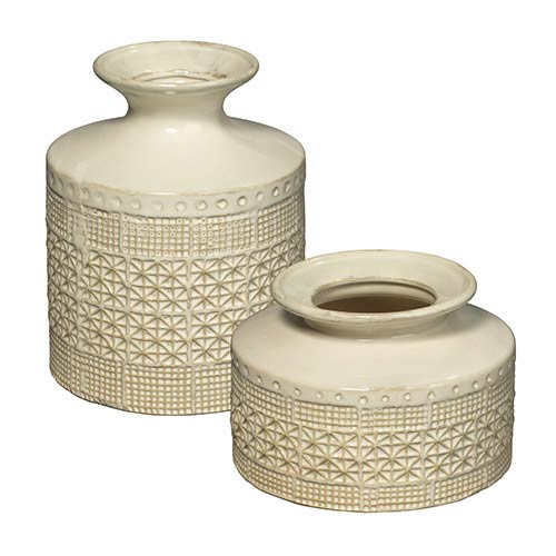 Jamie Young Company Astral White Vase, Set of 2