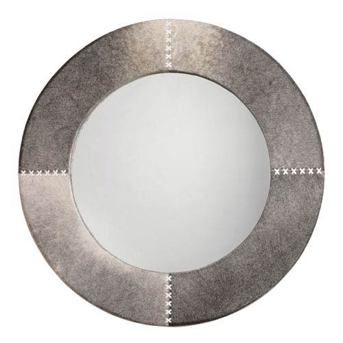 Jamie Young Company Grey Hide Cross Stitch 36-Inch Round Mirror