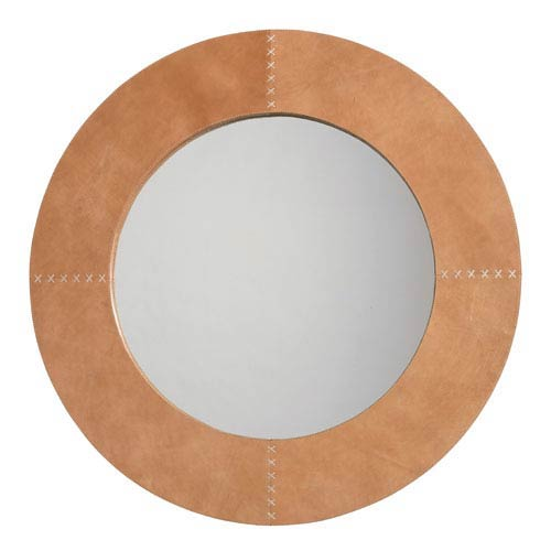 round leather mirror round pendant jamie young company buff leather cross stitch 36inch round mirror bellacor