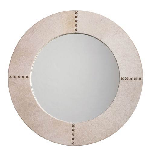 White Hider Cross Stitch 36-Inch Round Mirror
