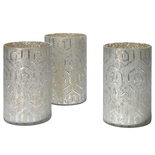 Jamie Young Company Deco Etched Glass Hurricane, Set of 3