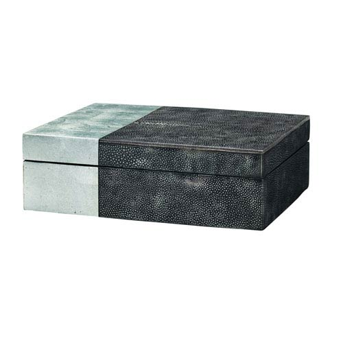 Raymond Black Faux Shagreen with Silver Leaf Box