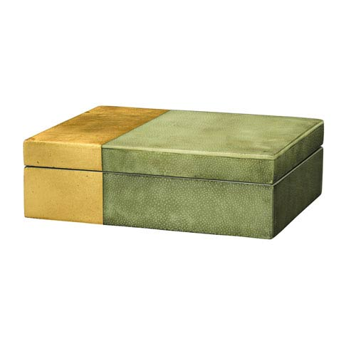 Raymond Grey Faux Shagreen with Gold Leaf Box