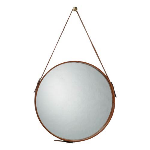 Round Leather 26-Inch Mirror