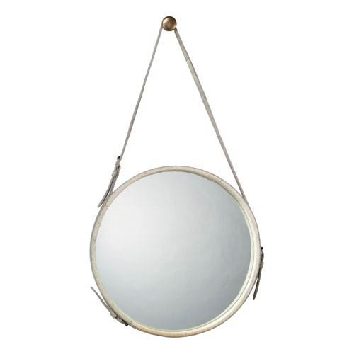 Jamie Young Company Round White Cow Hide 26 Inch Mirror