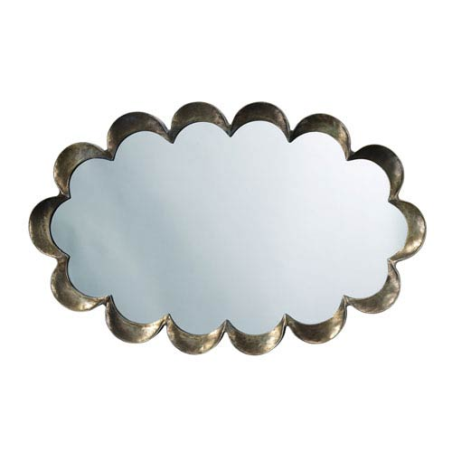 Scalloped Antique Silver and Patina Mirror