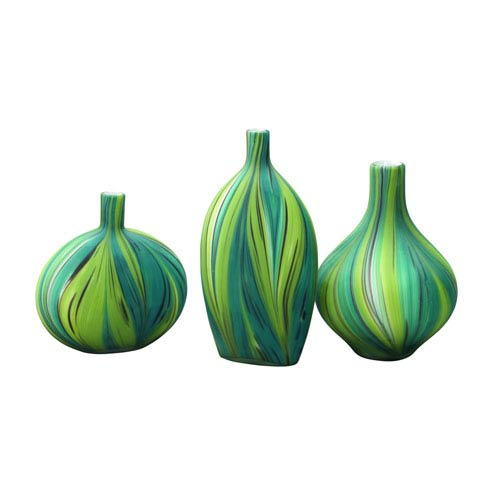 Stream Green and Blue Swirl Vase Set of Three