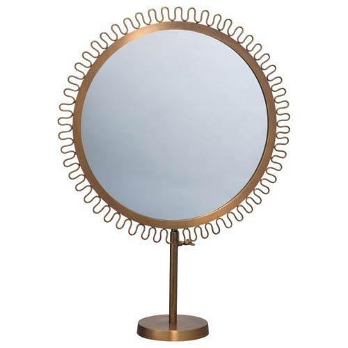 Brass 22-Inch Mirror on Vanity Stand