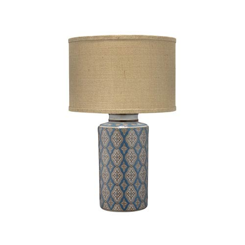 Blue and Brown 15-Inch One-Light Table Lamp