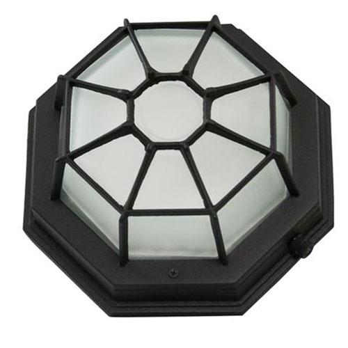 Black One-Light Outdoor Flush Mount