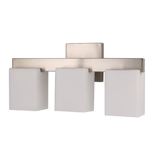 Efficient Lighting Brushed Nickel Three-Light Bath Vanity