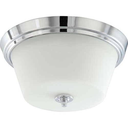 Brushed Nickel 12-Inch Two-Light Flush Mount