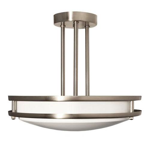 Efficient Lighting Brushed Nickel 14-Inch Two-Light Semi-Flush Mount