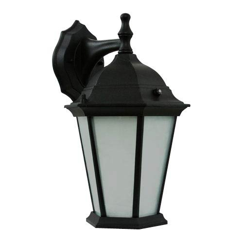 Efficient Lighting Powder Coated Black Energy Star Outdoor Wall Lantern with Photocell and Frosted Glass Diffuser