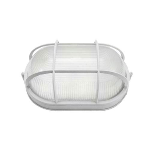 Powder Coated White Energy Star Outdoor Flush Mount with Ribbed Glass Diffuser