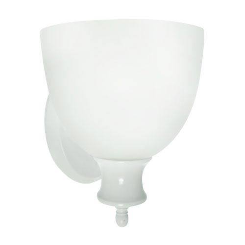 Powder Coated White Energy Star Wall Sconce with Frosted Glass Shade