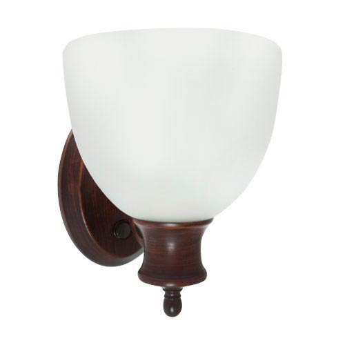 Oil Rubbed Bronze Energy Star Wall Sconce with Switch with Frosted Glass Shade