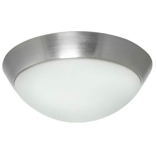 Efficient Lighting Brushed Nickel Energy Star Flush Mount with White Glass Shade