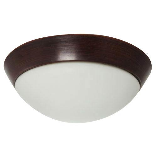 Oil Rubbed Bronze Energy Star Flush Mount with White Glass Shade