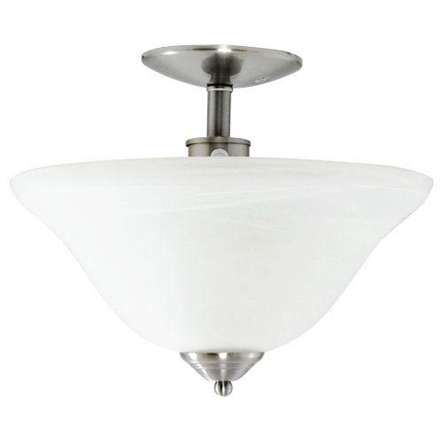 Efficient Lighting Brushed Nickel Energy Star Semi-Flush with Alabaster Glass