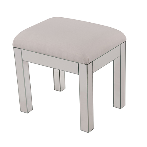 Contempo Hand Rubbed Antique Silver and Clear Mirror 18-Inch Vanity Stool