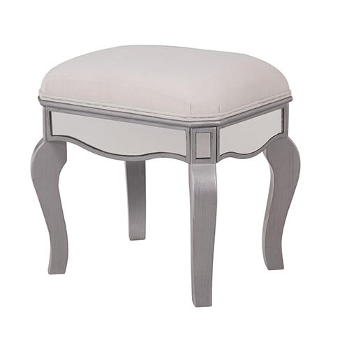 Contempo Hand Rubbed Antique Silver 18-Inch Vanity Stool