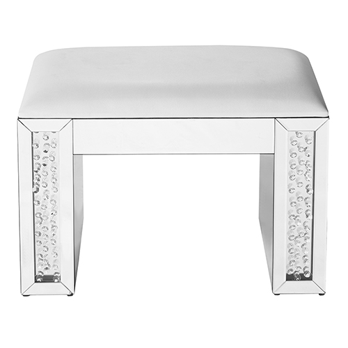 Modern Mirrored Crystal and Leather Vanity stool