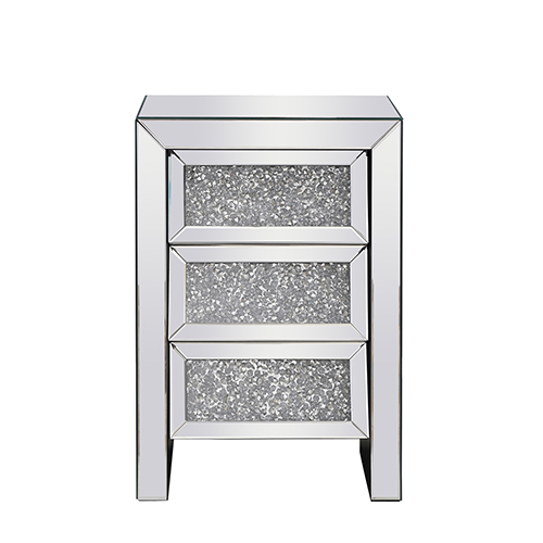 Modern Mirrored 25-Inch Silver Crystal Bedside Table