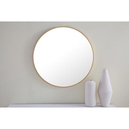 Eternity Brushed Brass Round 24-Inch Mirror