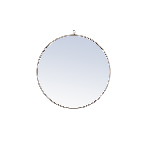 Eternity Silver Round 32-Inch Mirror with Hook