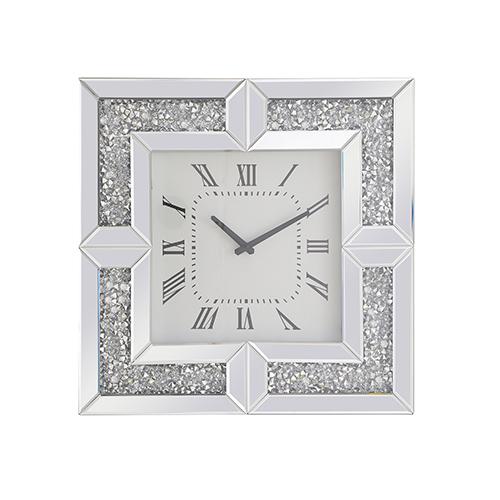 Modern Mirrored 20-Inch Grey Crystal Wall Clock