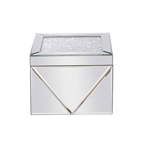 Modern Mirrored Eight-Inch Crystal Jewelry Box