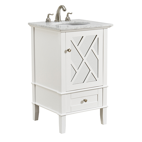 Luxe Frosted White Vanity Washstand