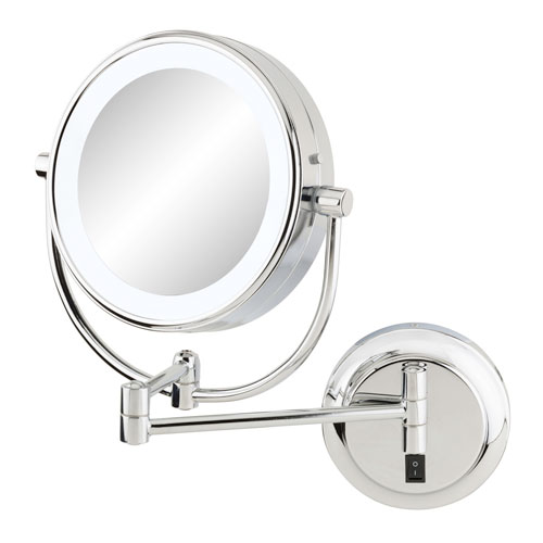 Neomodern Chrome LED Lighted Wall Mirror