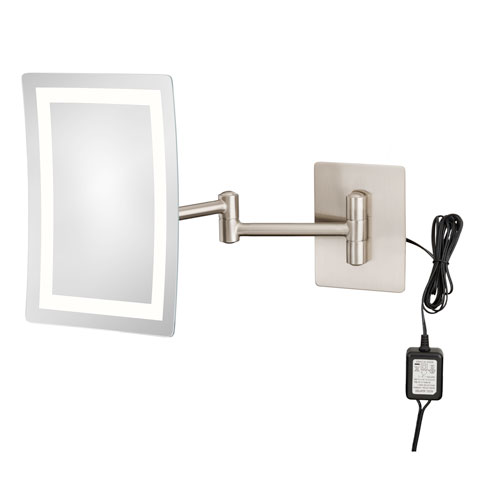 Single-Sided Brushed Nickel LED Rectangular Wall Mirror - Hardwired