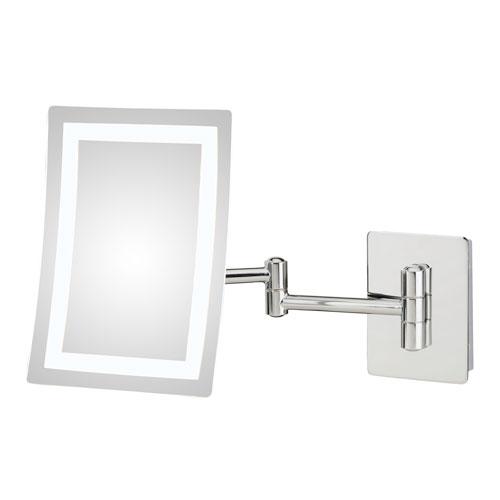 Single-Sided Chrome LED Rectangular Wall Mirror - Hardwired