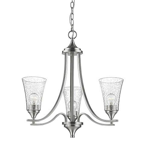 Natalie Satin Nickel Three-Light Chandelier with Seeded Glass Shades