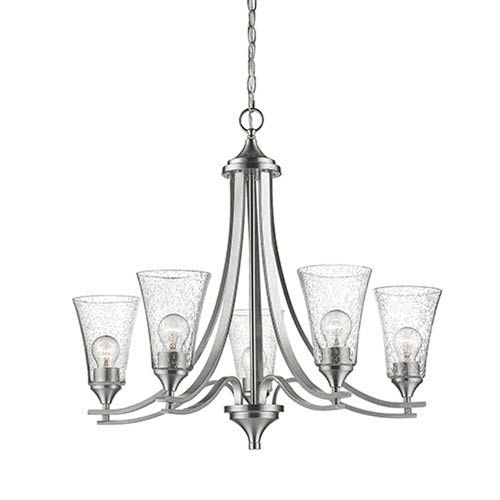 Natalie Satin Nickel Five-Light Chandelier with Seeded Glass Shades