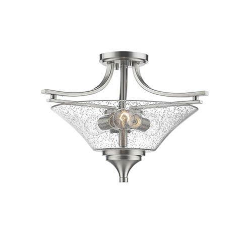 Millennium Lighting Natalie Satin Nickel Three-Light Semi Flush Mount with Seeded Glass