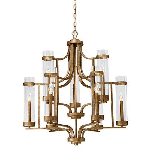 Milan Vintage Gold Nine-Light Chandelier