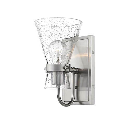 Brushed Nickel One-Light Wall Sconce with Seeded Glass
