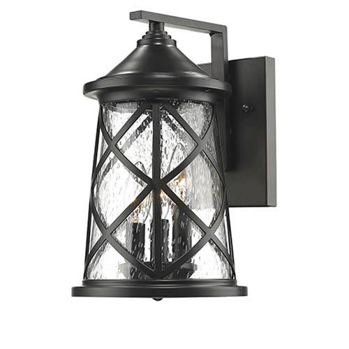 Millennium Lighting Powder Coat Black Three-Light Outdoor Wall Mount with Seeded Glass