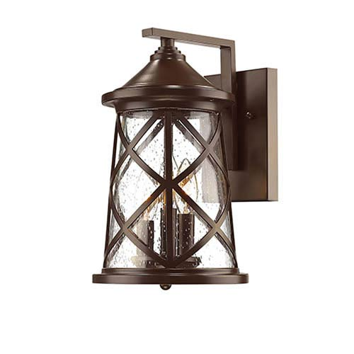 Powder Coat Bronze Three-Light Outdoor Wall Mount with Seeded Glass