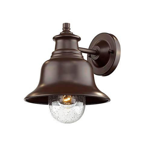 Powder Coat Bronze Nine-Inch One-Light Outdoor Wall Mount with Seeded Glass