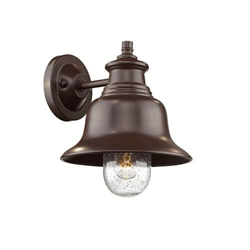Millennium Lighting Powder Coat Bronze 11-Inch One-Light Outdoor Wall Mount with Seeded Glass