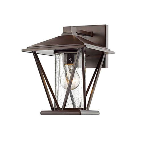 Millennium Lighting Powder Coat Bronze Seven-Inch One-Light Outdoor Wall Mount with Seeded Glass