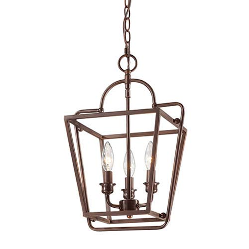 Rubbed Bronze 12-Inch Three-Light Lantern Pendant
