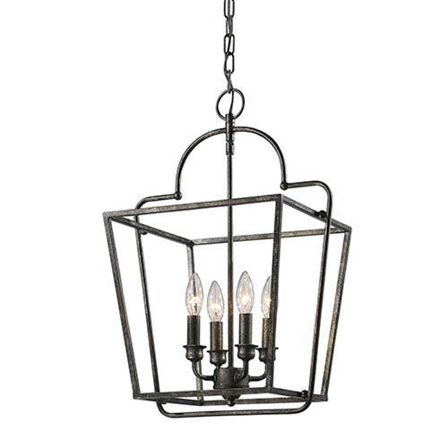Antique Silver Four-Light Lantern Pendant